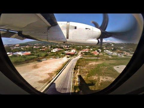 SkyExpress ATR 42-500 SMOOTH Landing at SKIATHOS | GoPro Wing View | Low Landing @ 2nd St Maarten