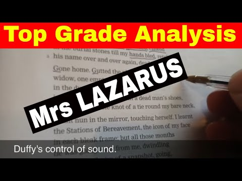 Complete analysis of Mrs Lazarus by Carol Ann Duffy.
