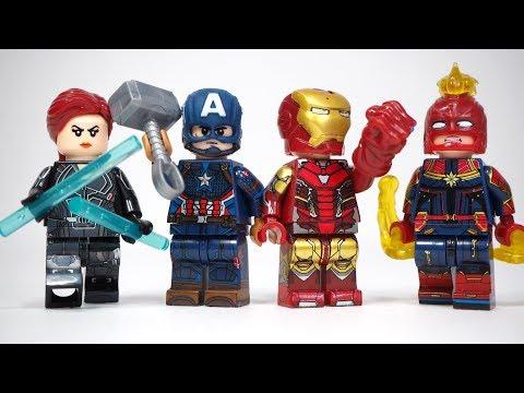 Avengers Endgame Iron Man Gauntlet Captain America Captain Marvel Thor Unofficial Lego Minifigures