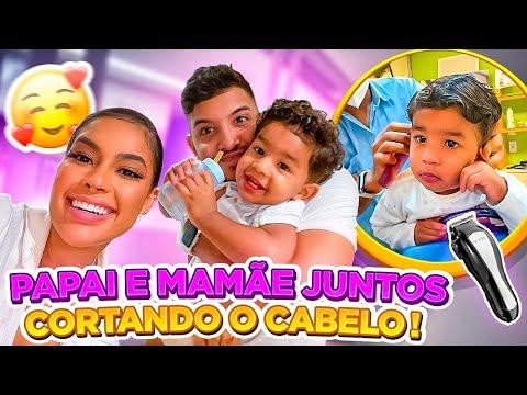 LEVAMOS NOSSO FILHO PARA CORTAR O CABELO!! *ele ficou muito feliz*