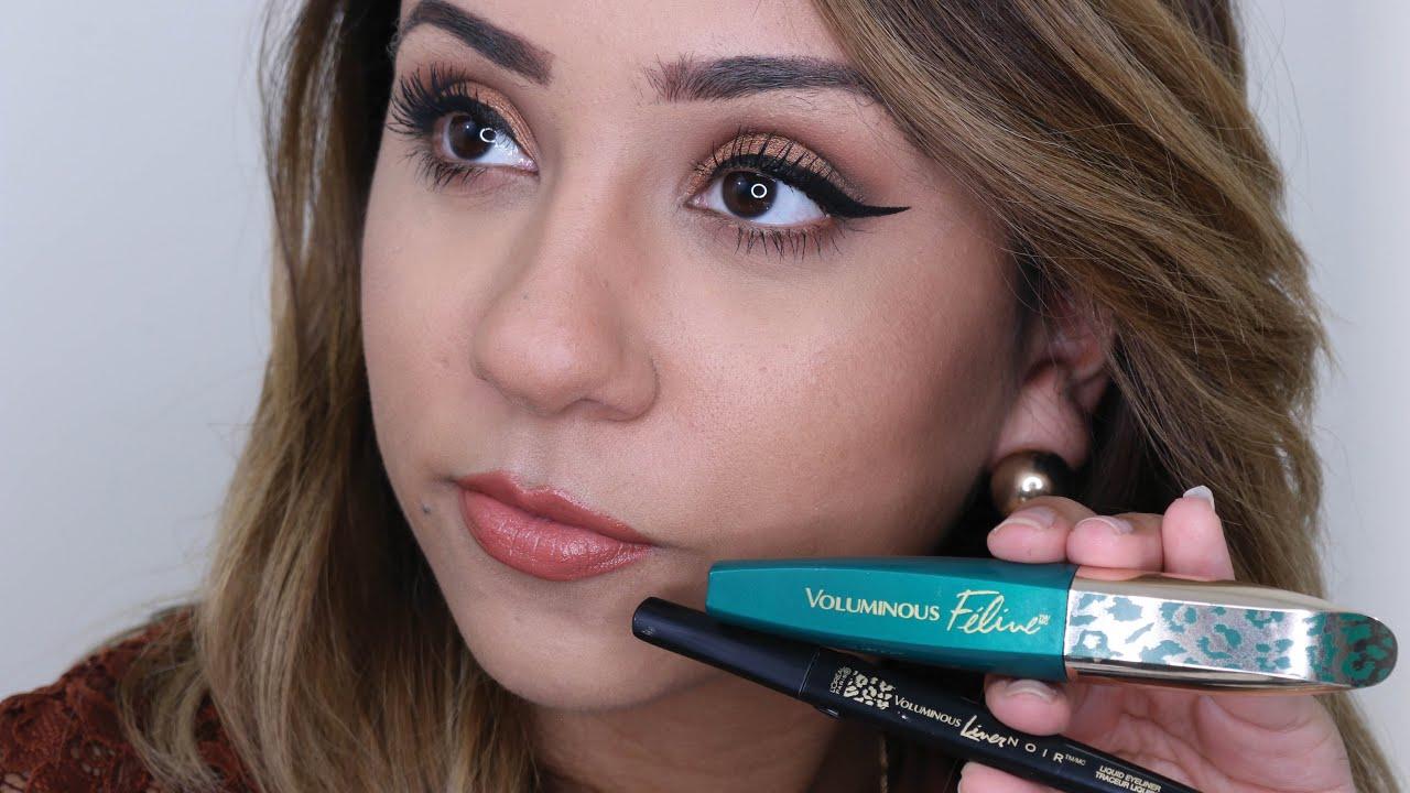 L\'ORÉAL Voluminous Feline Mascara + Noir Eyeliner Review - YouTube