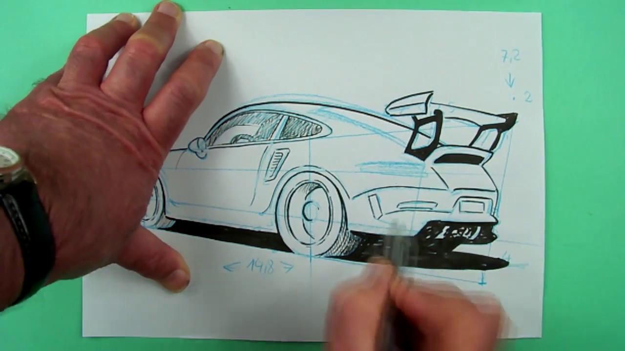 Wie zeichnet man einen Porsche ? Zeichnen nicht nur für Kinder.