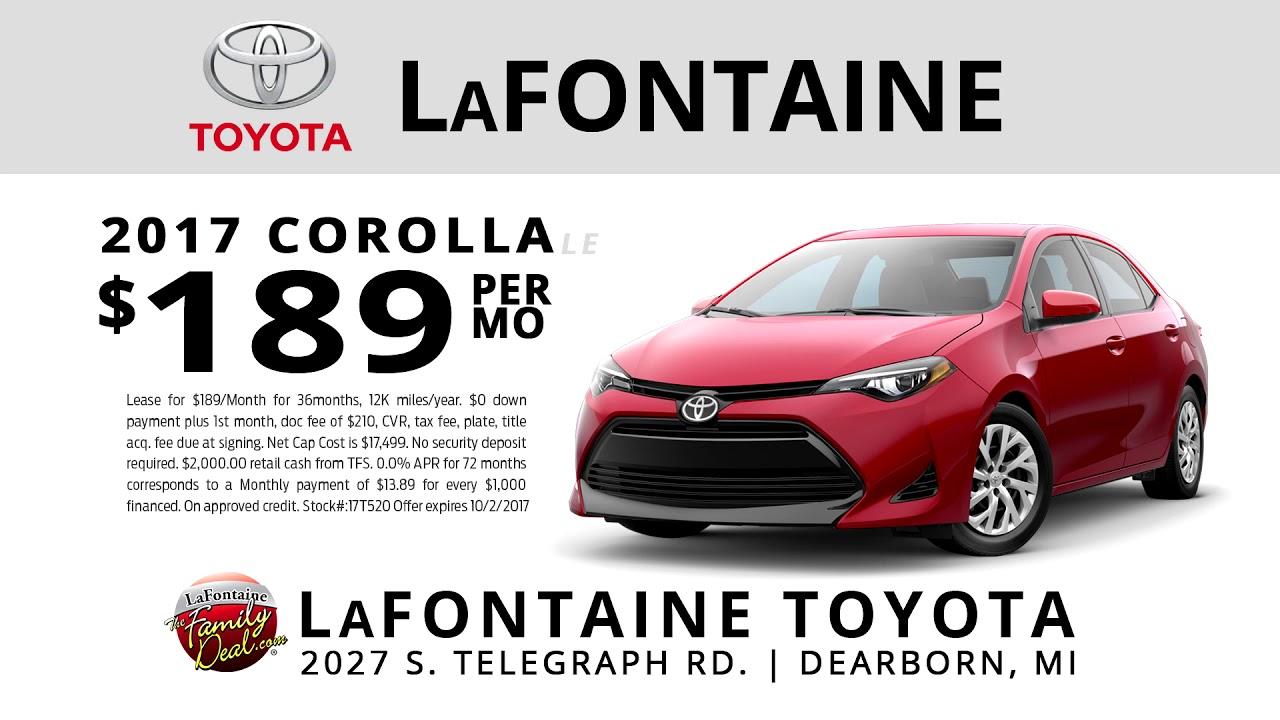 Toyota Corolla 2017 Lease >> Lafontaine Toyota Dearborn September 2017 2017 Corolla