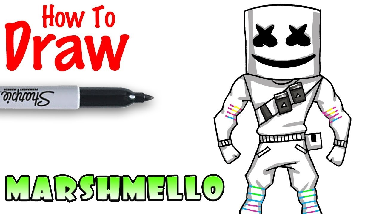 How To Draw Marshmello Fortnite Youtube