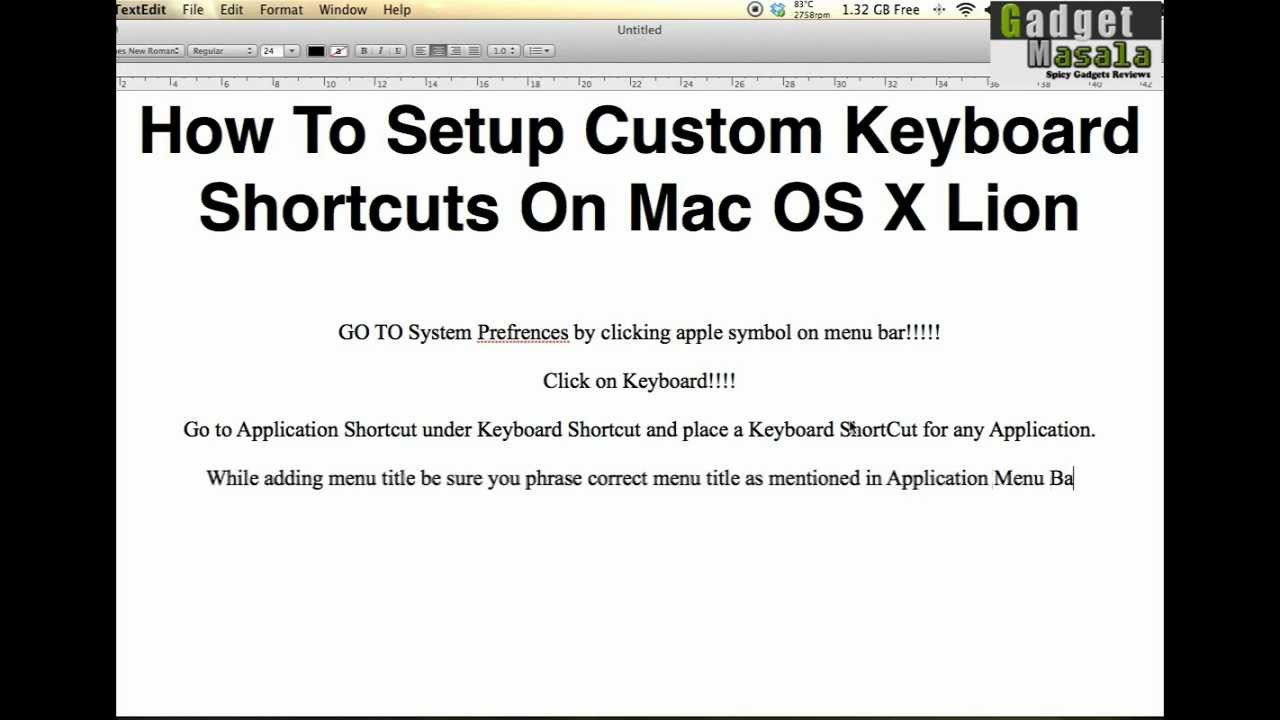 How to setup custom keyboard shortcuts on mac os x lion youtube biocorpaavc Gallery