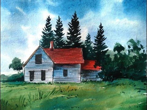 Watercolor Painting – Simple House Landscape