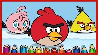 Рисуем Энгри Бердз. Draw Angry Birds. Злые птицы Ред, Стелла,Чак. Red, Stella, Chuck.