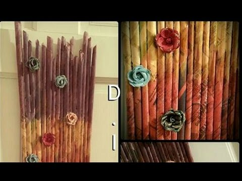 Diy newspaper wall hanging paper craft for home decor for Home decorating materials