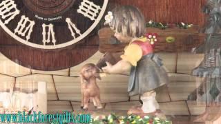 86238t Girl Feeding Bambi (deer) Cuckoo Clock