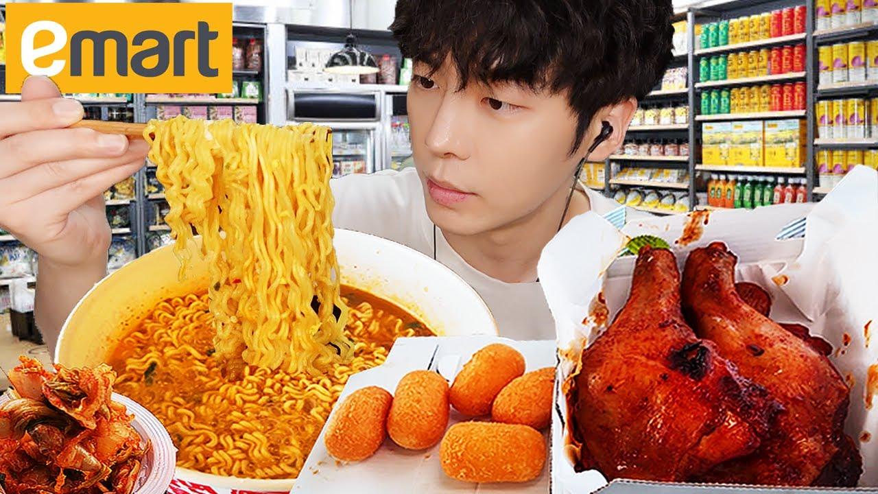 MUKBANG | 한강 편의점 김치 라면 BBQ 양념치킨 김밥 치즈볼 먹방 & FRIED CHICKEN NOODLES EATING