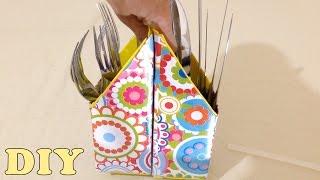 Porta Talheres com Caixa de Leite – DIY Artesanato Reciclagem
