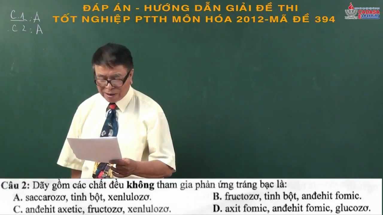 Đáp án đề thi tốt nghiệp THPT 2013 – Môn Hóa – CADASA.VN – Phần 1