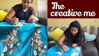 Designer Saree Painting for Durga Puja || Very Easy Fabric Painting