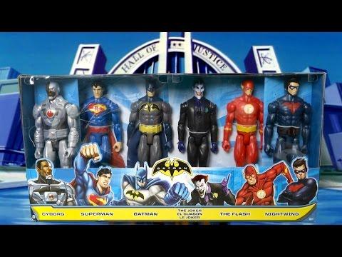 Batman Action Figure Set feat Cyborg, Superman, Batman, The Joker, The Flash & Nightwing from Mattel