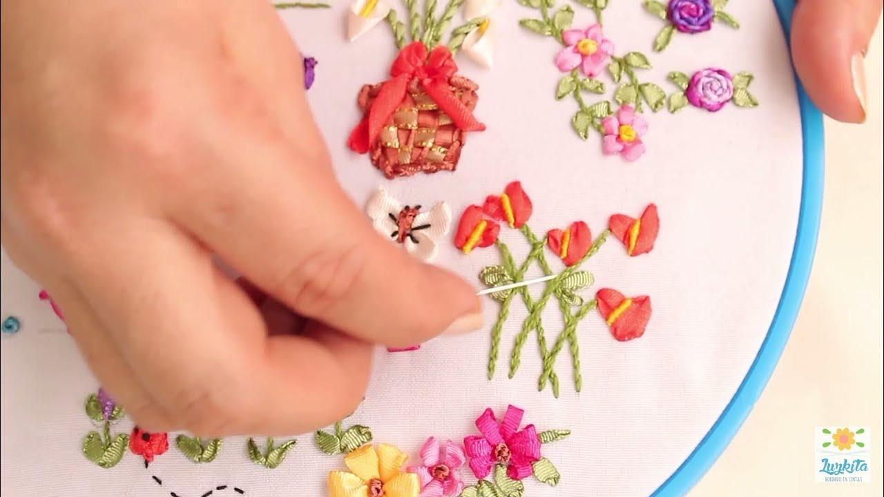 Bordado a mano con cintas o liston clase 5 hand for Como hacer alfombras en bordado chino