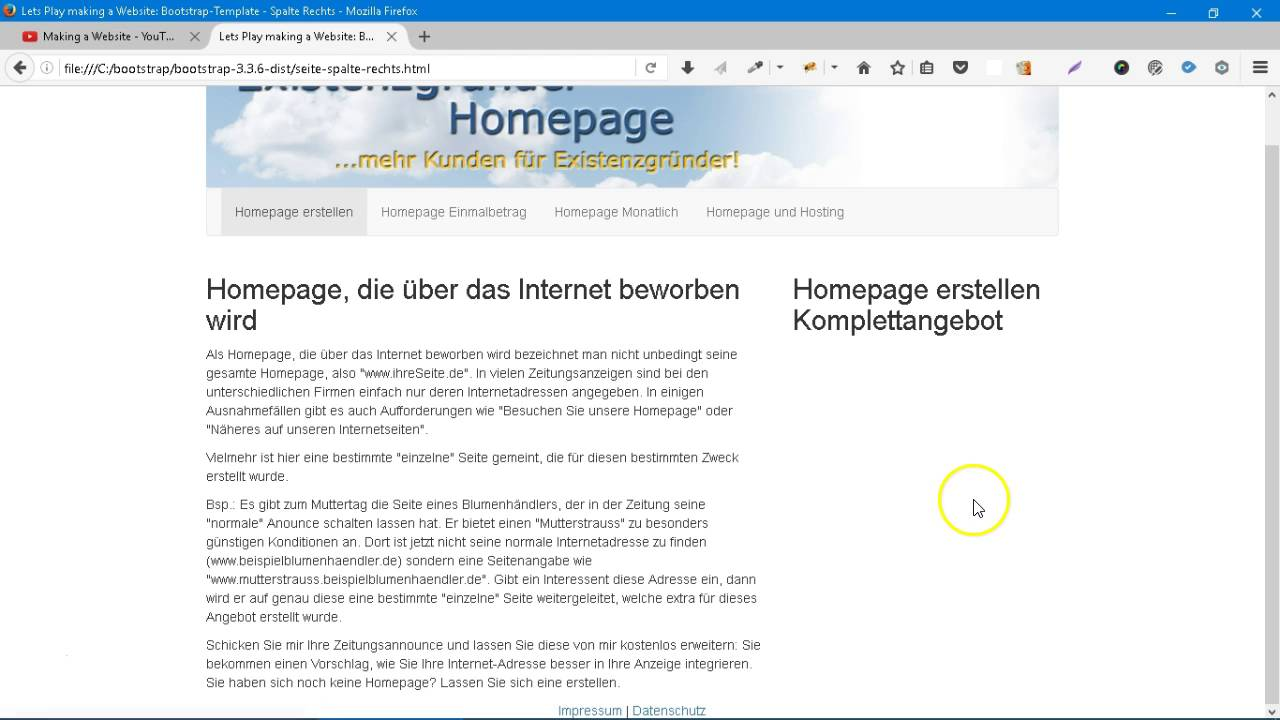 Making a Website: Bootstrap-Template 7 - mit und ohne Spalte - YouTube