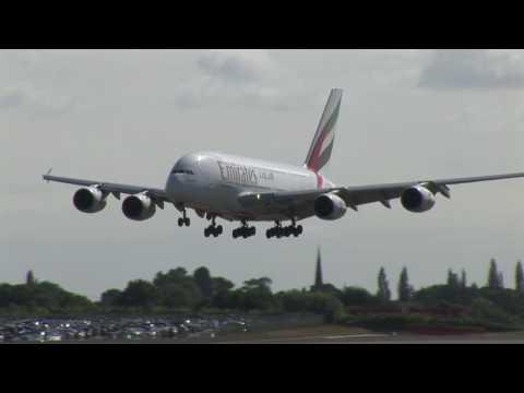 Emirates A380 at Birmingham Airport