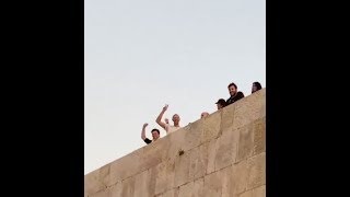 Coldplay waving to fans outside the Citadel