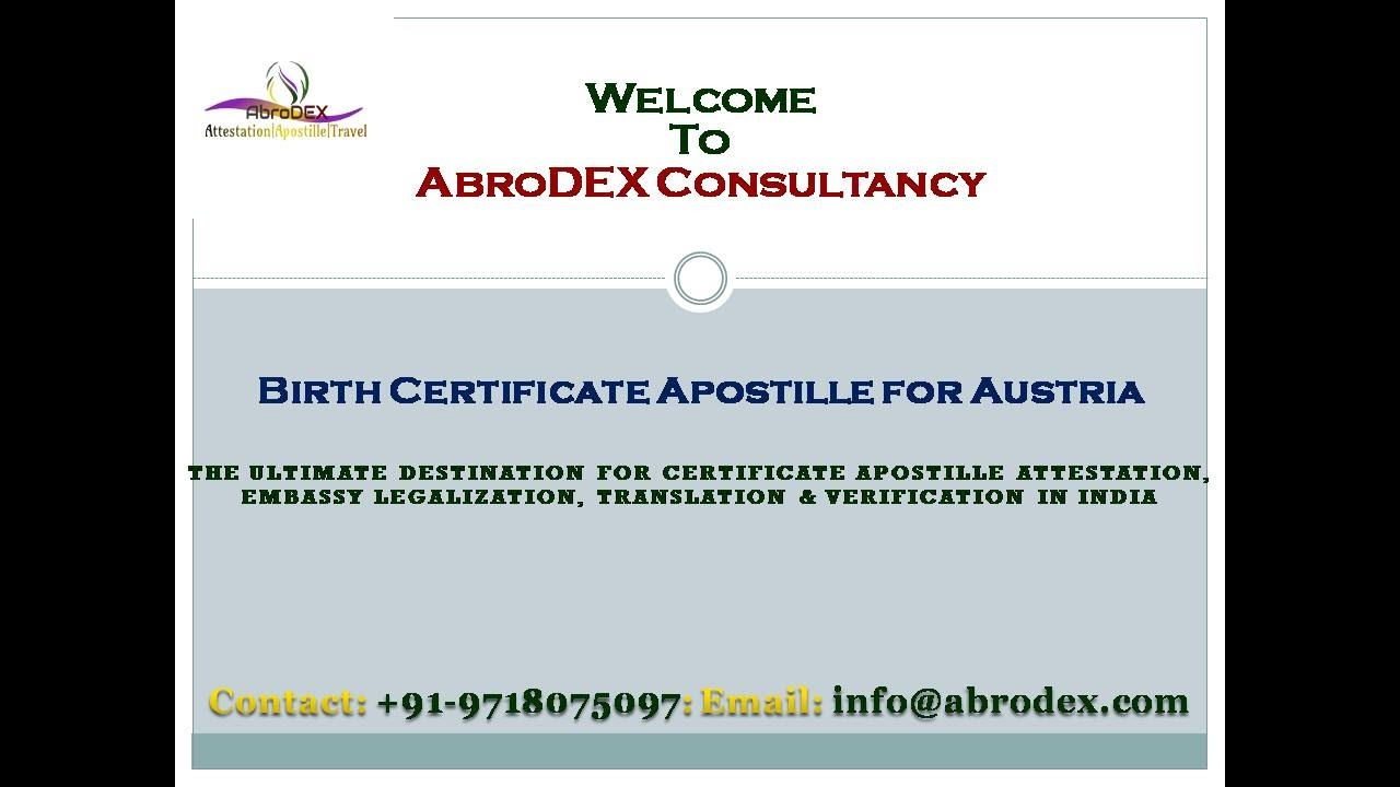 Birth Certificate Apostille For Austria Youtube