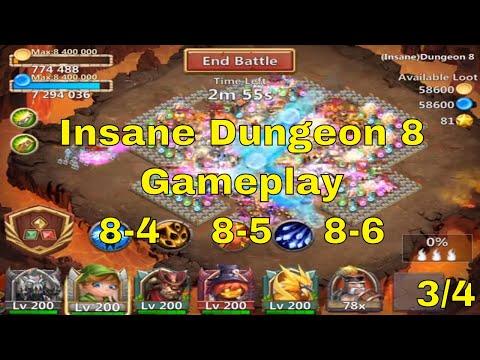 Castle Clash Insane Dungeon 8-4, 8-5, 8-6 Gameplay