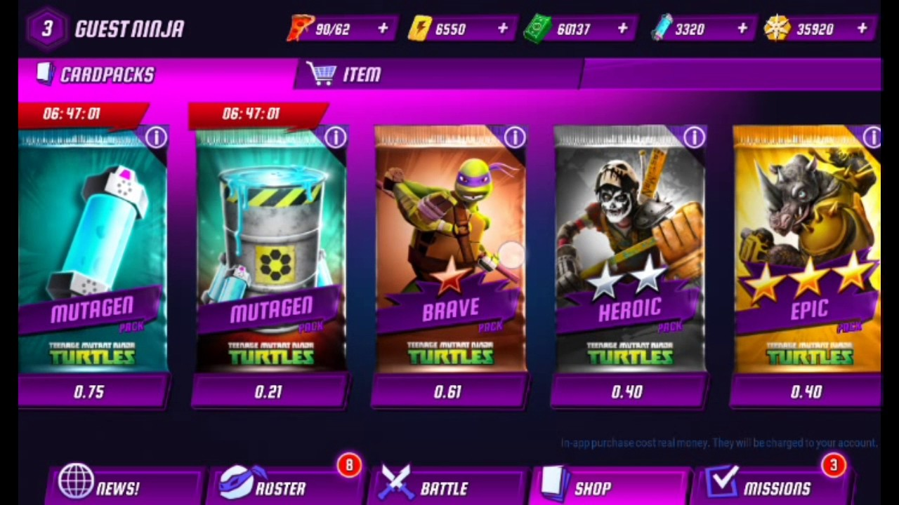 Teenage Mutant Ninja Turtles Legends Unlimited Card Packs Codes