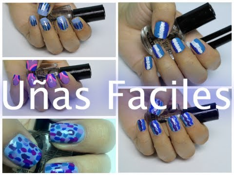 5 dise os de u as faciles de hacer con colores azules for Disenos de unas