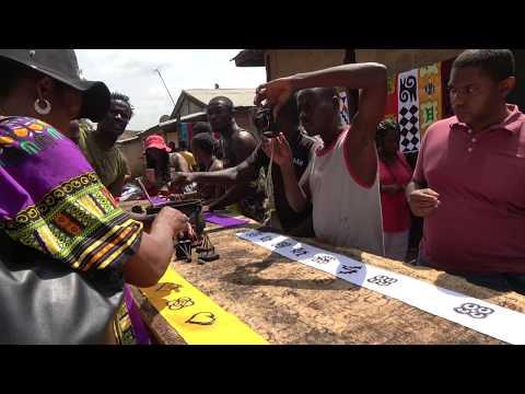 Group Members Adinkra Printed Cloths at Ntonso Village - Ghana Tour Nov 2017