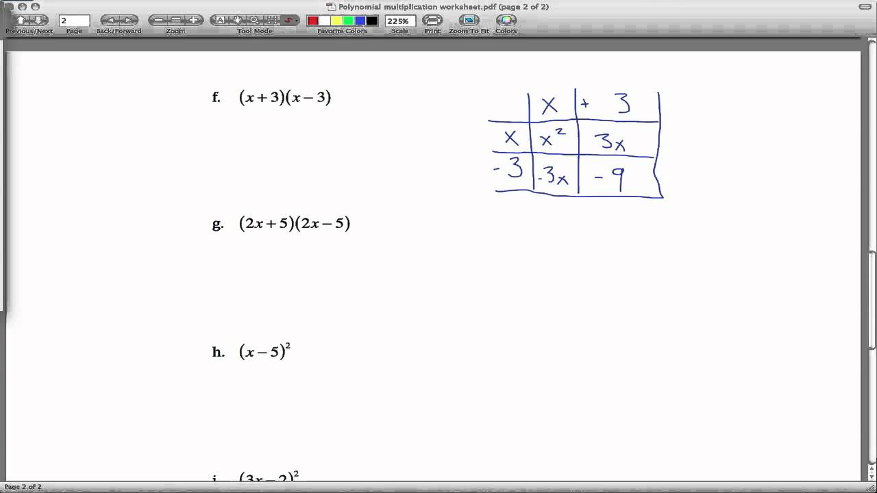 Polynomial Multiplication Worksheet Youtube