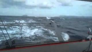 Sailing fast in stormy weather on our super light catamaran
