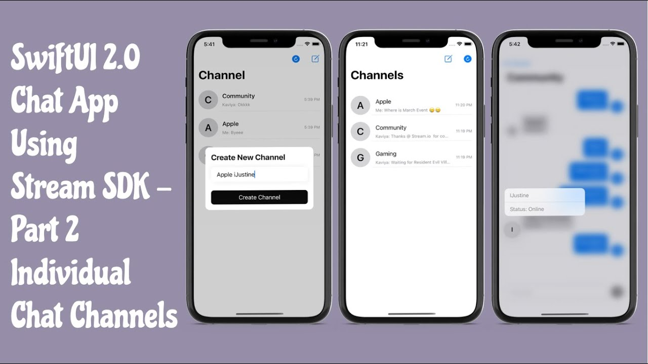 SwiftUI 2.0 Chat App Using Stream SDK - #2 - Individual Channels For Chatting - Tutorial