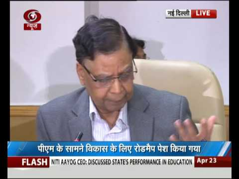 Vice chairman of NITI aayog Arvind Panagariya briefs media