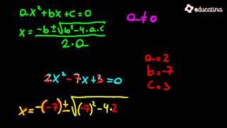 Aplicación de la fórmula de Bhaskara - Álgebra - Educatina