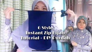 6 Styles Instant Zip Hijab Tutorial + DIY Purdah