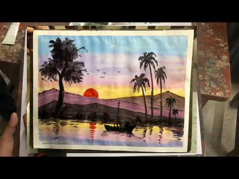 Very easy watercolour sunrise landscape painting
