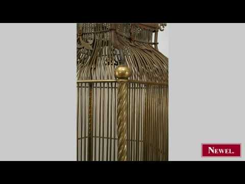 Antique French Victorian iron and brass 6 sided bird cage