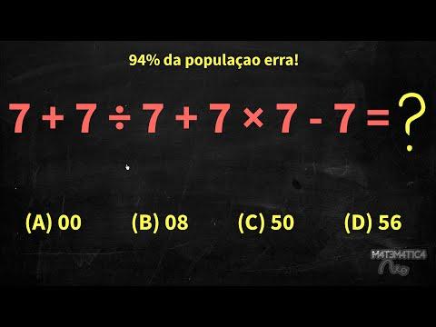 PEMDAS (Ordem das Operações) - 94% das pessoas erra essa conta: 7+7/7+7*7-7 | Matemática Rio