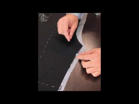 Соединение подкладки с передней половинкой брюк