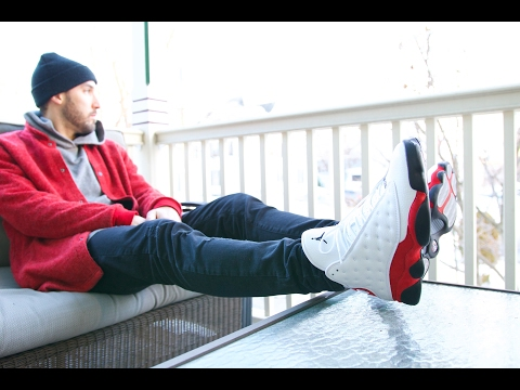 """AIR JORDAN RETRO 13 XIII """"CHERRY"""" ON FEET WITH OUTFIT"""