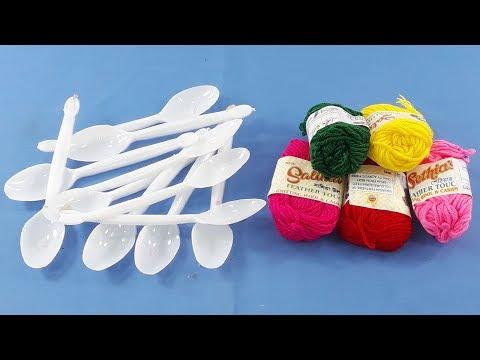 DIY Plastic spoon & color woolen craft idea For Home decor | Plastic spoon reuse idea