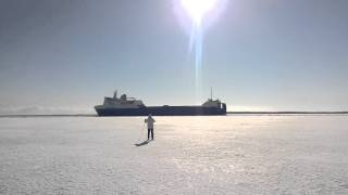 Ice skiing in Oulu Finland near shipping lane 21st Mar 2016