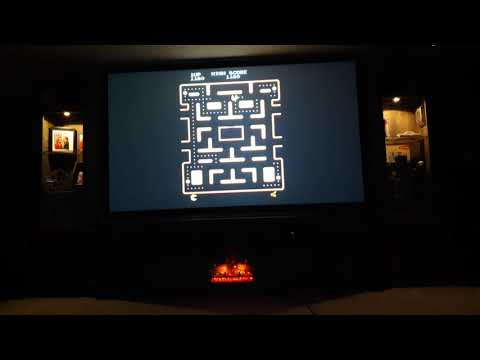 80s Kid Enjoying Retropie Arcade Ms Pac Man First Time On Projector Screen!!