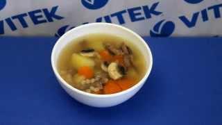Рецепт приготовления супа на говяжьем бульоне с шампиньонами в мультиварке VITEK VT-4214 R