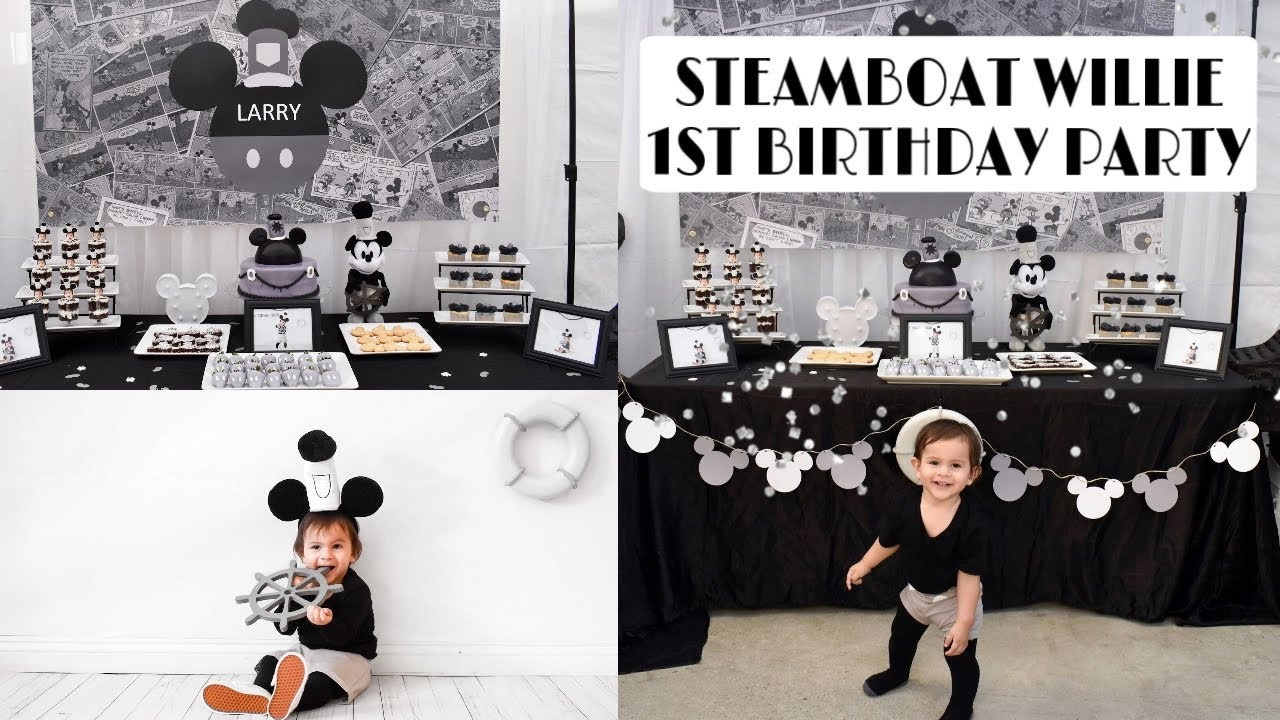 Steamboat Larry S 1st Birthday Party Steamboat Willie Mickey