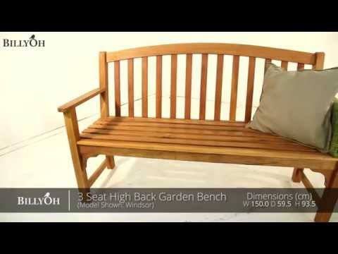 Billyoh 3 Seat High Back Garden Bench