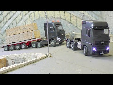 HEAVY TRANSPORT - 100t BLOCKS OF STONE, AMAZING RC LIVE ACTION
