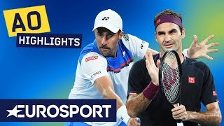 Roger Federer vs Steve Johnson Highlights | Australian Open 2020 Round 1 | Eurosport