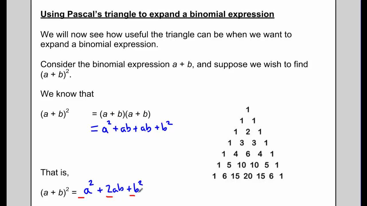 Worksheets Binomial Theorem Worksheet u6l7 pascals triangle and the binomial theorem youtube theorem