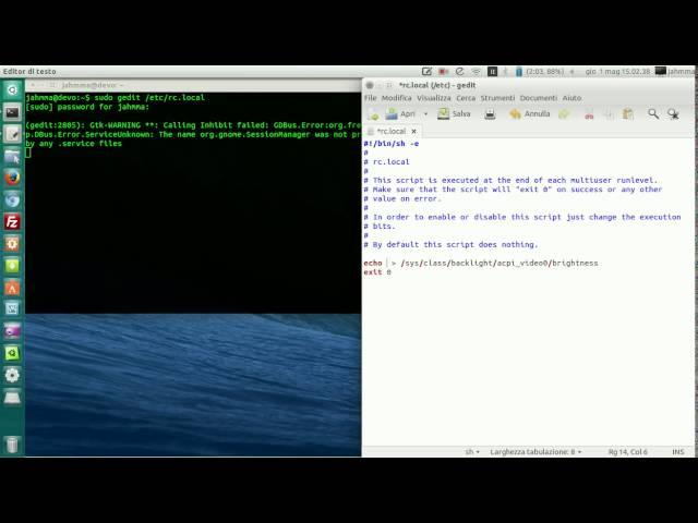 Ubuntu (11.10 o più): Salvare i parametri della luminosità