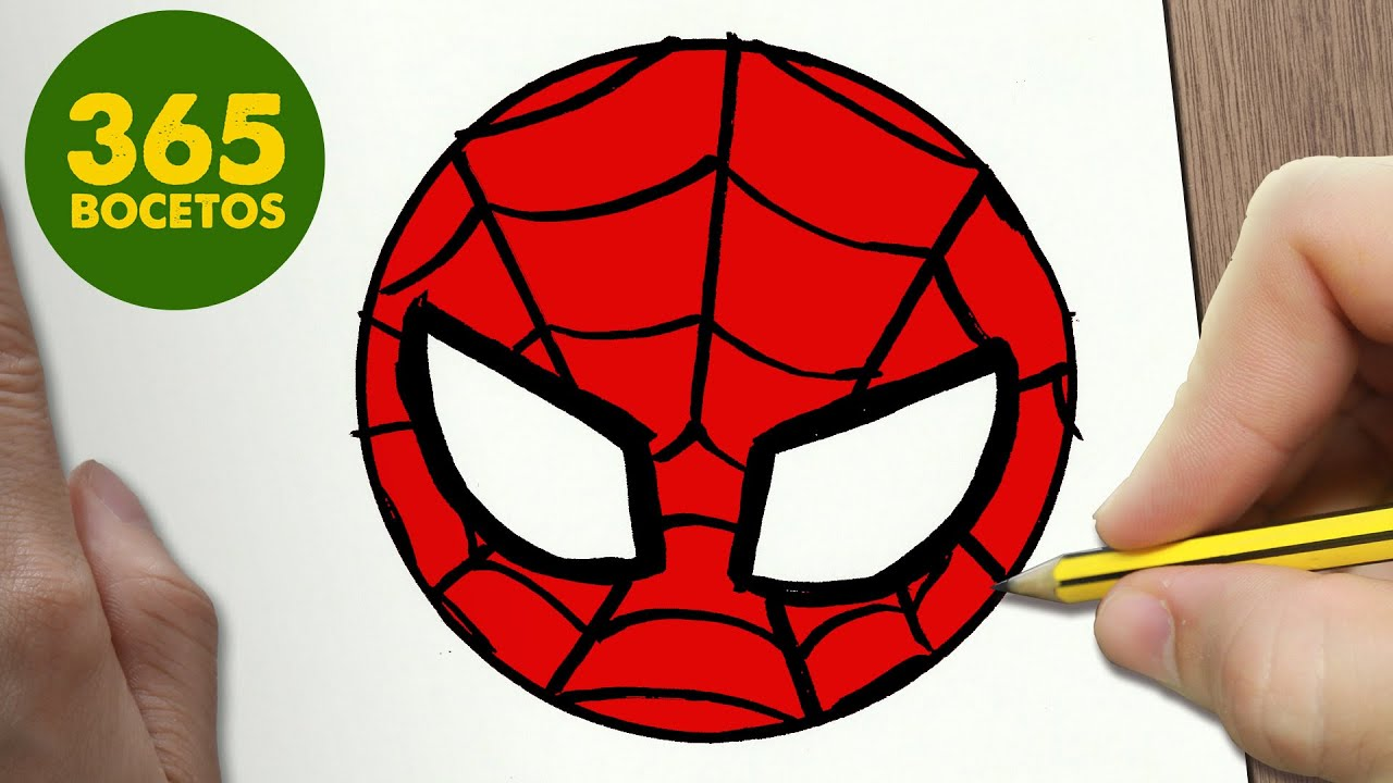 Dibujos De Spiderman Para Pintar: COMO DIBUJAR SPIDERMAN EMOTICONOS WHATSAPP KAWAII PASO A