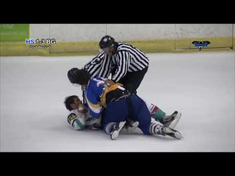 Ryan Hand vs Adam Keefe RD 2 EIHL fight 7-10-12